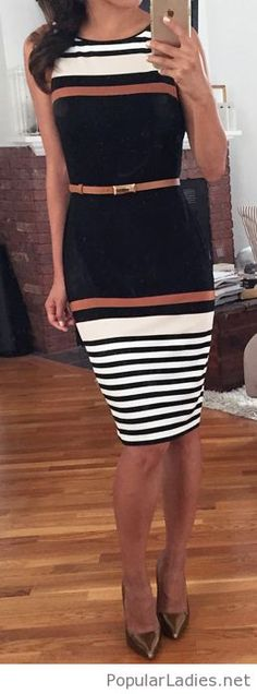 Classy stripes on the dress with belt and high heels