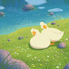 Kawaii Doodles, Cute Doodles, Animal Drawings, Cute Drawings, Duck Art, Dibujos Cute, Guache, Cartoon Art Styles, Cute Illustration