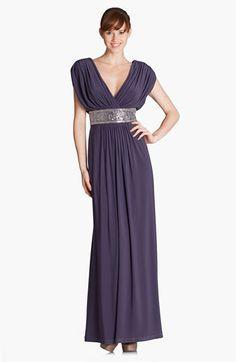 JS Boutique Metallic Waist Pleated Surplice Gown   Nordstrom