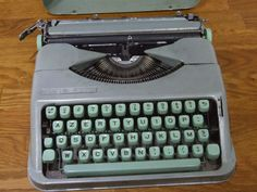 Mint Green Hermes Baby Typewriter // by VintageRetroOddities