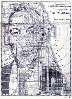 Map Illustrations by Ed Fairburn. Illustrator: Ed Fairburn. Collage Portrait, Collage Drawing, Painting & Drawing, Cardiff, Ed Fairburn, Art Et Design, Art Du Monde, Geography Map, Pastel Portraits