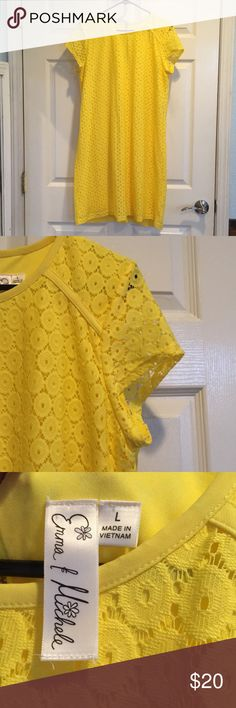 Emma & Michelle Yellow Lace Sheath Dress Very classy and just plain adorable! Flawless! Worn once. Although this is labeled L, I'm a 6/8 and it fits perfectly: therefore, it is listed as a size M. Measurements upon request. Looks adorable with the Jack Rogers sandals in my closet! Emma & Michele Dresses Midi