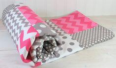 Baby Girl Blanket, Nursery Decor, Crib Blanket, Photography Prop, Patchwork Baby Blanket,  Fleece Blanket, Pink and Gray Chevron Dots Stripe...