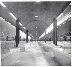 """unavidamoderna: """"   La Merced, Mercado, México DF 1957 Vista interior de la nave principal Arquitecto: Enrique del Moral View of the Main Hall interior. """""""