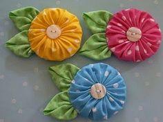 Цветы из ткани «йо-йо». Идеи и МК из интернета. / Прочие виды рукоделия / Другие виды рукоделия