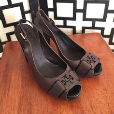 Tory Burch Tennyson Slingback Dark Brown Pumps These are in excellent condition. Only signs of wear are on the bottoms. Leather and insoles are in perfect condition. Peep toe style with adjustable buckles. True to size. Salon Shoes. Tory Burch Shoes Heels