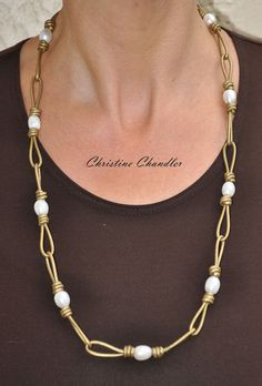 Pearl and Leather Jewelry - 31 inch Leather Chain Link & Pearl Wrap - Necklace - Choker - Bracelet - Pearl  andLeather Jewelry Collection