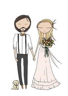 custom wedding portrait wedding anniversary by Blankaillustration, £60.00