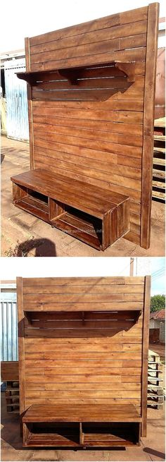 Let us start with the furniture for the TV launch and here you can see the idea for creating a reclaimed wood pallet TV stand with the space to place the decorative items above the TV and placing the DVD player below the TV.