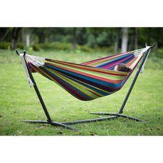 Banana Hammock Bed With Stand Swing Combo Set Cotton Rainbow Stripe Outdoor Yard #Merax