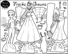 A printable paper doll of a young black woman with formal gowns and cocktail dresses