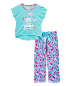 7f0ec0bc4803 Sleep On It Blue  I Love  Pizza  Pajama Set - Girls
