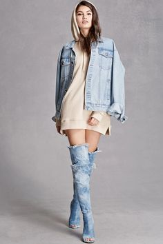 A pair of over-the-knee denim boots featuring a distressed design, frayed hem, open-toe, high-polish side zipper, soft lining, and a stiletto heel. This is an independent brand and not a Forever 21 branded item.