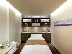 Sleek & simple, yet cozy facial room (I like the clean lines, textures and colors -Lorissa).
