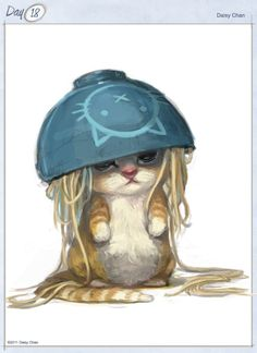 """Noodles the Cat by Daisy Chan (I had a betta fish named noodles because his """"bowl"""" was a tall glass jar designed to hold spaghetti)"""