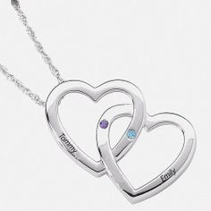 Personalized Sterling Silver Double Heart Necklace
