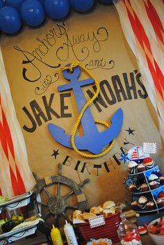 "Photo 30 of 53: Sailor/nautical / Birthday ""Anchors Away, It's Jake & Noah's Birthday!"" | Catch My Party"