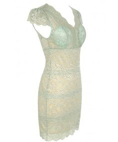 Lily Boutique Material Girl Delicate Lace Bustier Dress in Mint - SALE Lily…