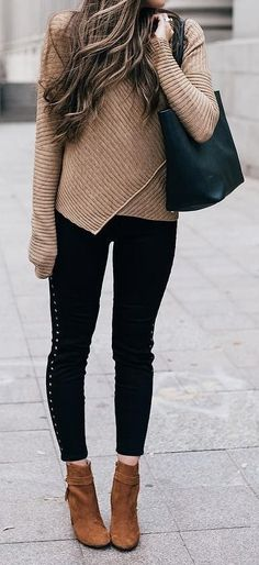 #outfits #fall #fashion Camel Wrap Sweater // Black Skinny  Jeans // Camel Booties