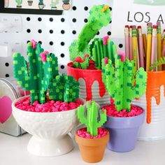 Today I've got another DIY for you that combines two of my favorite things – Perler Beads and faux succulents! I'm making a Cactus out of Perler Beads, so check out the video to… View Post Perler Bead Designs, Perler Bead Templates, Hama Beads Design, Diy Perler Beads, Pearler Bead Patterns, Perler Bead Art, Perler Patterns, Hamma Beads 3d, Fuse Beads