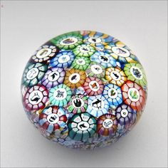 Perthshire LE2001 mini picture cane glass paperweight / presse papiers Sold £620