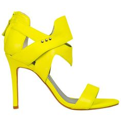 Senso Women's Xixi Heeled Sandals - Fluro Yellow (€46) ❤ liked on Polyvore featuring shoes, sandals, heels, percata, fluro yellow, flat leather sandals, leather sandals, yellow flat sandals, strappy sandals and strappy leather sandals