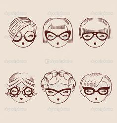 Мода девочек в очки значок набор рисованной векторные иллюстрации — стоковая иллюстрация #50083739