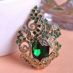 Retro Emerald Large Luxury Peacoke Crystal Vintage Jewelry Wedding ...