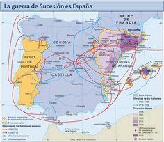LA HISTORIA A TRAVÉS DEL ARTE. EN TIEMPOS DE FELIPE V. LA GUERRA DE SUCESIÓN Spain History, History Of Portugal, European History, World History, Art History, Map Of Spain, Spanish War, Old Maps, Nose Art
