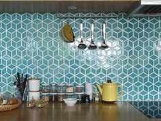 Geometric tiles, in a white and maple kitchen could these be a good splashback b. Geometric tiles, in a white and maple kitchen could these be a good splashback behind the hob if they were in white? Decor, Interior, Home Goods Decor, Kitchen Remodel, Kitchen Decor, Kitchen Splashback, Geometric Kitchen, Maple Kitchen, Geometric Tiles