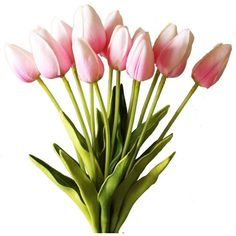 """Real Touch Mini Tulip Bundle in Pink with Subtle Green Highlights15""""... ($16) ❤ liked on Polyvore featuring home, home decor, floral decor, flower home decor, green home decor, spring home decor, flower stem and pink home decor"""