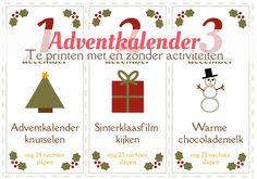 PDF adventskalender met 24 leuke activiteiten om te doen met kinderen in de aanloop naar kerstmis. Gratis te printen met of zonder activiteiten. van:www.mizflurry.nl