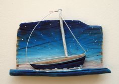 sailboat,starry night,driftwood,ultramarin