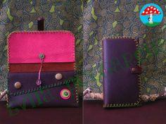 Cartera de cuero/ Money purse leather/ Geldbörse leder http://artesanio.com/evita-pulgarcita/cartera-de-cuero-cosida-a-mano+150106