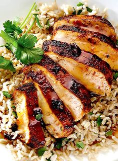 Clean Eating Orange Chipotle Chicken with Cilantro Rice. -- she had other great clean eating recipes Clean Eating Recipes, Healthy Eating, Cooking Recipes, Healthy Recipes, Cookbook Recipes, Top Recipes, Eating Clean, Recipies, Cooking Tips