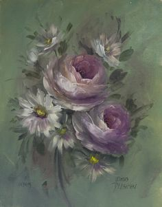 Roses and Daisies - Jansen Art Store Oil Painting Flowers, Watercolor Flowers, Flower Canvas, Flower Art, Stencil Painting, Painting & Drawing, Vintage Flower Prints, Easy Paintings, Illustrations And Posters