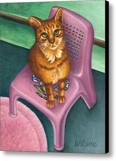 Cat Sitting On A Painted Chair Canvas Print / Canvas Art By Carol Wilson