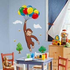kids cartoon characters pn wall | おさるのジョージ ジャイアントステッカー RoomMates ...