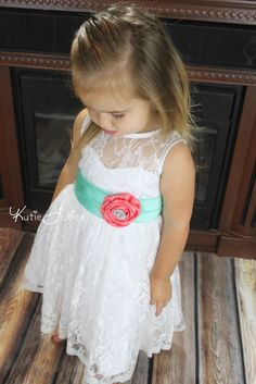 Lace Sweetheart Flower Girl Dress White Coral Mint by KutieTuties, $119.95