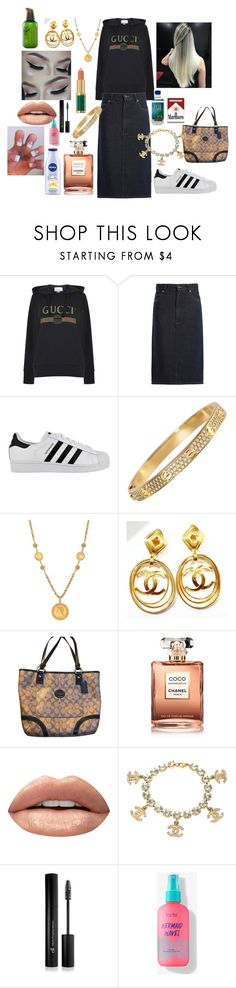 """my 😍😍😍"" by samnight ❤ liked on Polyvore featuring Gucci, Raey, adidas, Miriam Haskell, Chanel, Huda Beauty, Forever 21, Innisfree and denimskirts"