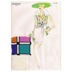 Givenchy Croquis of a Day Dress  :  Givenchy.  Sketch of a day dress. Limited.  France      c1980