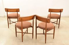 Mid-Century Teak Dining Chairs by G-Plan 4 Scandinavian Dining Chairs, Teak Dining Chairs, Seat Pads, Chair Design, Mid Century, Cushions, How To Plan, The Originals, Furniture