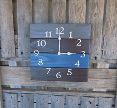 Pallet Wood Clock, Blue and Grey Clock, Rustic Wood Clock, Primitive Wood Clock, Wood Wall Clock, Pallet Wall Clock, Rustic Beach Clock