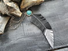 Turquoise necklace. Feather necklace. Leather by VelmaJewelry