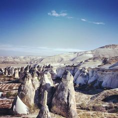 """The mystical """"fairy chimneys"""" of #Cappadocia, Turkey, which incidentally has excellent hot air balloon rides. Photo courtesy of katinaphoto on Instagram."""