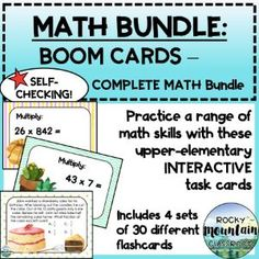 Boom Cards - FULL MATH Bundle (entire store) Fraction Word Problems, Math Problems, Elementary Math, Upper Elementary, Math Fractions, 4th Grade Math, Math Skills, Deck Of Cards, Task Cards