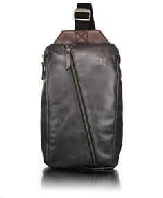 love this leather sling bag from Tumi