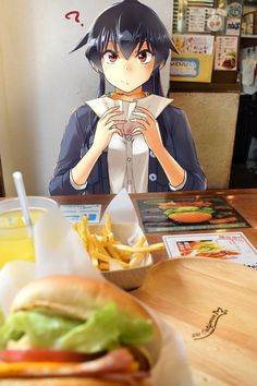 🍔🍟 eating burgers and fries with anime girl yahagi from kantai collection Real Anime, 2d Character, Anime Artwork, Manga Anime, Cheese Popcorn, Original Art, Kawaii, Wallpaper, Anime Girls