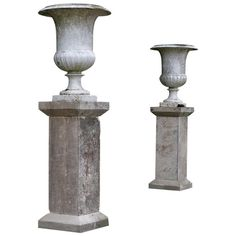 """Pair of Medici Vases with """"Godrons"""" & Columns in Iron Mid-1850s Paris, France 