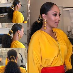 Good Products For Natural Black Hair Ponytail Styles, Curly Hair Styles, Natural Hair Styles, Low Ponytails, Updo Styles, Natural Hair Ponytail, Curly Ponytail, Natural Updo, Weave Ponytail